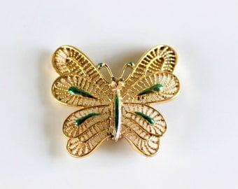 Vintage Gerrys Butterfly Brooch Pin Gold Tone Filigree with Metallic Green Enamel