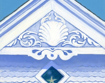 "Block Island coastal cottage - seaside church art print, Victorian gable, white and blue, ""Harbor Church"""