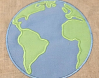 Earth (globe) applique design in three sizes perfect for Earth Day to stitch out on your embroidery machine.