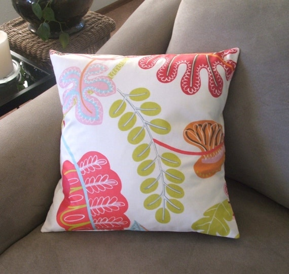 Red Pink and Green Decorative Pillow Cover by PearBlossomCreations