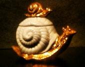 Gold Painted Porcelain Snail Trinket Box - Mid Century Lefton China