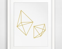 Geometric Gold, Diamond Art, Gem Art, Mustard Decor, Gold Decor, Gold Wall Decor, Mustard Art, Geometric Decor, Gold Artwork