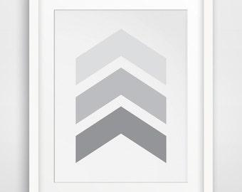 Chevron Wall Art, Grey Chevrons, Light Grey, Chevron Print, Chevron Arrow Wall Art, Arrow Print, Gray