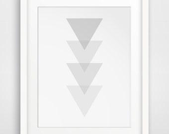 Grey Triangle Art, Triangle Wall Print, Light White and Light Grey Triangles, White Geometric, White Triangle Wall Art, Minimalist Wall Art