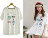 Beatles T Shirt Vintage Graphic Tees Dolman Sleeves Free White Gray 556