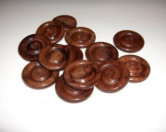 """Handmade, Koa Wooden buttons, 3/4"""" diameter"""