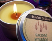 SACRED SMUDGE CANDLE - Enegry-Clearing Soy Candle Alternative to Smudging - Sage, Sweetgrass  and  Cedar Scent - 6 oz Tin with lid