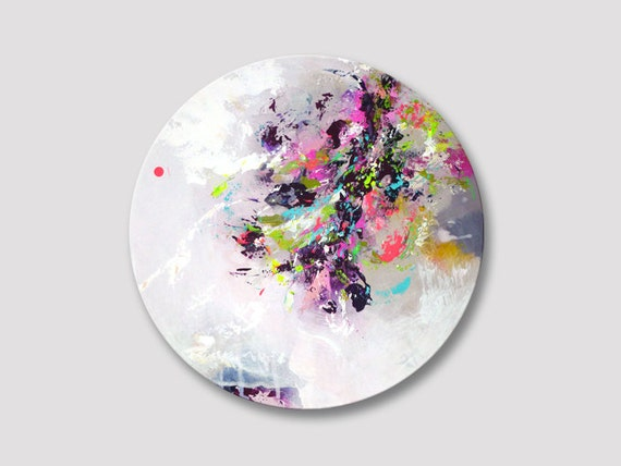 original abstrakter malerei runde gem lde runde wandkunst. Black Bedroom Furniture Sets. Home Design Ideas
