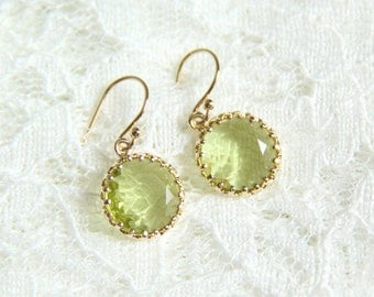 Peridot glass stone earrings. Bridesmaids earrings. Bridal earrings. Wedding gift