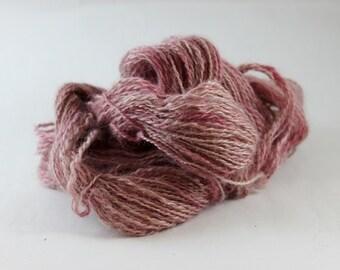Wenslydale Hand spun wool yarn, Sport weight, 110yds, 3oz, organic yarn, Organic Dye, Dusty Rose