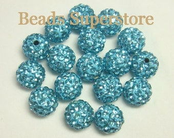 CLOSEOUT 10 mm Aquamarine Pave Crystal Round Bead - Grade AAA - 10 pcs