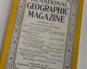 1948 NATIONAL GEOGRAPHIC MAGAZINE- December 1948-Masterpiece Paintings,Original Lascaux Cave Photos
