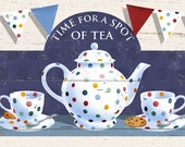 A lovely shabby chic downloadable image of Tea For Two!