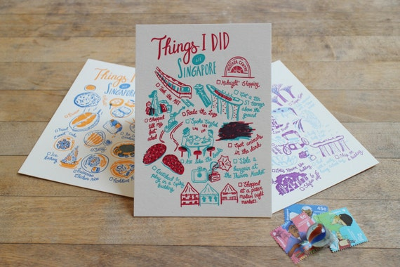 Things I did in Singapore Letterpress Postcards