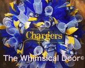 San Diego Chargers Mesh Wreath NFL Football Draft Day Father's Day Blue Yellow White Chevron Burlap