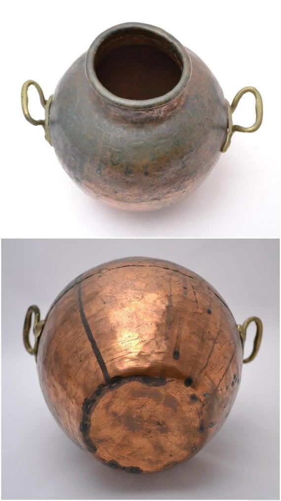 Vintage Rustic Hammered Copper Dovetail Jug Pot Urn Or Vase