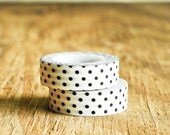 Washi Tape in White & Black Polka Dots - 15mm x 15m - Roll Japanese Masking Cute Party Pretty Festive Gift Wrapping Packaging Fun Retro