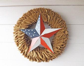 Rustic Burlap Ruffle Wreath with Patriotic Metal Barn Star