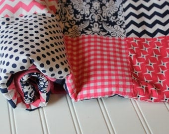 Baby Girl Patchwork Quilt, Pink and Navy Blue Chevron, Dots, Damask, Baby Girl Quilt, Minky Baby Blanket, Nursery Decor, Baby Shower Gift