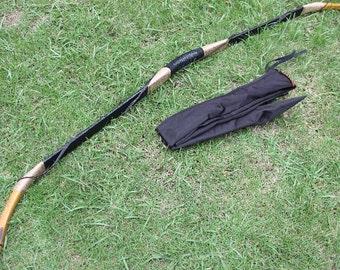 Longbowmaker Handmade Traditional hunting Longbow Cow Leather Bow Recurve Archery With OX Horn 20-80LBS H1O