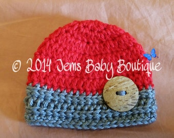 Cute Crochet Red & Grey Baby Boy Hat w Wood button, Photo Prop Beanie