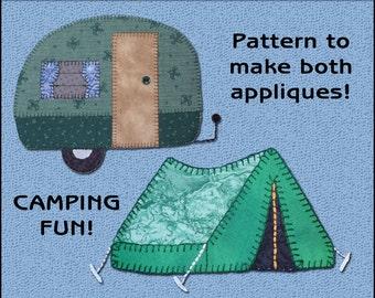 Applique Template, Camper & Tent Applique Templates - Camper Applique Pattern - Tent Applique Template - PDF Pattern, DIY