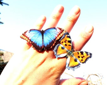 SALE - Buy two butterfly ring cheaper, Blue butterfly, Orange butterfly, Butterfly ring, Butterfly jewelry, Wing jewelry, Wing ring.