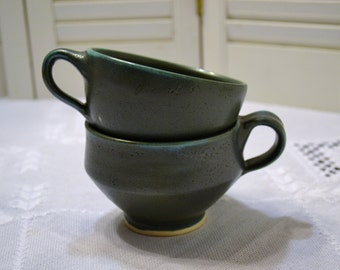 Vintage Hand Made Pottery Cups Set of 2 Green Teal Signed Lockett PanchosPorch