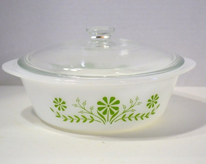 Vintage Glasbake 2 Quart Casserole with Lid White with Green Flowers PanchosPorch