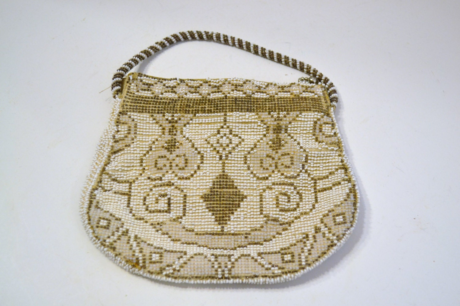 vintage beaded purse made in czechoslovakia beige neutral