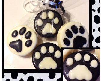 Dog and Cat paw print Chocolate covered Oreos favors -Set of 12