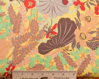 Melissa White fabric Misaki Lotus and Berries MW011 Edo green brown floral 100% Cotton Fabric Sewing Quilting fabric by the yard freespirit