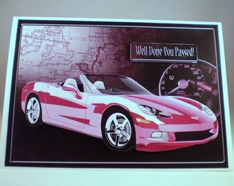 Sports car etsy handmade passed your driving test card or birthday 3d pink sports car bookmarktalkfo Image collections