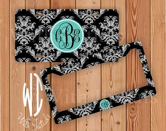 Damask Pattern License Plate Or Frame Monogrammed - Monogram Chevron Car Tag Chevron Bike Accessory