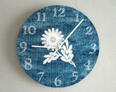 Boho Wall Clock - Vintage Blue Denim - Floral Wall Clock - Blue and White Wall Decor - Unique Wall Clock - Upcycled Wall Art