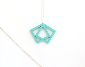 geometrical pendant, wood pendant, turquoise necklace, statement necklace, laser cutted jewelry, turquoise diamond, delicate silver chain