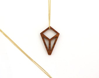 wood crystal, geometrical pendant, wood pendant with silver chain, geometric necklace, laser cutted jewelry, fine gold plated chain