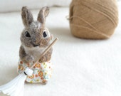felted rabbit 'spring cleaning.' cottontail bunny figurine. vintage-style fabric apron. needle felted wool animal. easter basket gift.