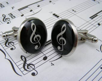 Treble Clef Cufflinks - Music Cufflinks - Treble Clef Cufflink - Music Lover - Bass Clef Cufflinks - Music Cuff Links - Jewelry for Men