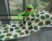 Turtle Burp Cloths for baby,  green turtles, terrycloth backed, 7 1/2 X 21 inches, makes a great changing pad in a pinch!