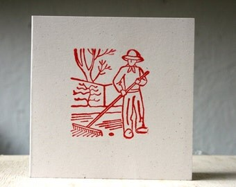 Paysage Pack of 4 Hand Printed Notecards with envelopes