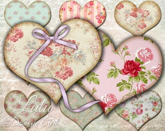 Shabby Chic Hearts - Digital Collage Sheet - Tags - Heart Shaped Tags - Hang Tags - Embellishment - Scrapbooking - Vintage Ephemera