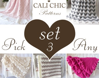 Patterns 3 SET SALE - Sale Coupon Code - Pick any Three (3) Patterns from shop & use Coupon Code - CHOOSE3 - (or request patterns by email)