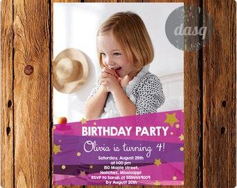Birthday Party invitation girl, photo birthday invitation pink, fuchsia,  stars