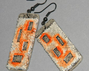 Earrings Distressed Boho Polymer Clay Mid Century Modern Jewelry Women Casual Dangles ELEMENTS by ArtCirque Donna Pellegata