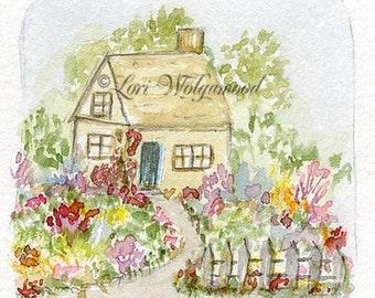 Cottage House - Watercolor Print - Artist Print - Digital
