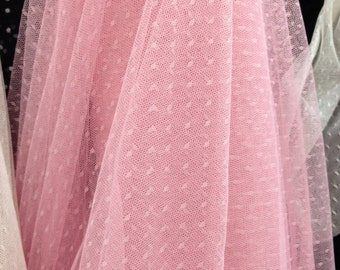 Pink Lace Fabric Little Dots Veil Lace Tulle Lace Fabric For Bridal, Baby Dresses, Tutus, Jewelry Design
