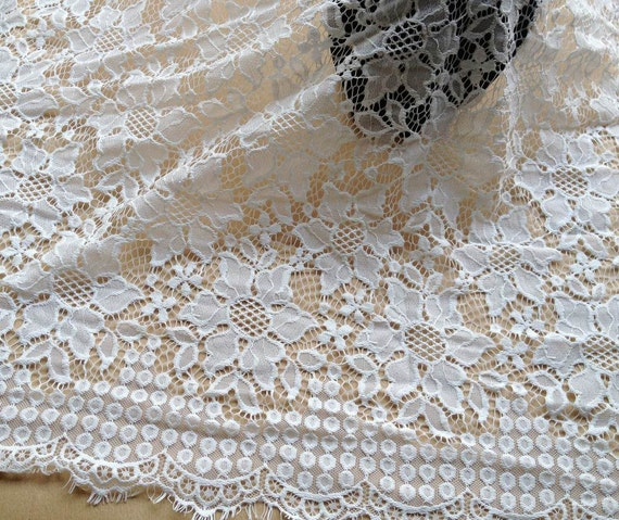 French chantilly fabric white floral lace fabric wedding for Wedding dress fabric store