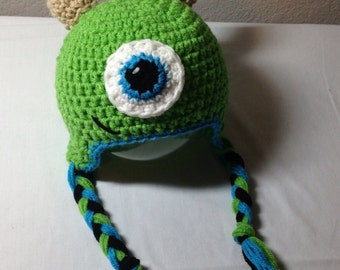Crochet any size NB through adult monster hat beanie earflap photography prop
