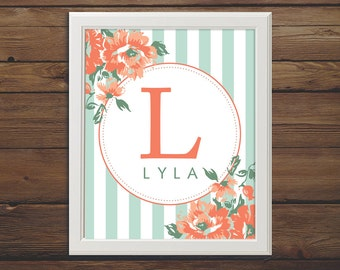 Instant Download - Custom Name Digital Print - 8x10 - Coral & Mint